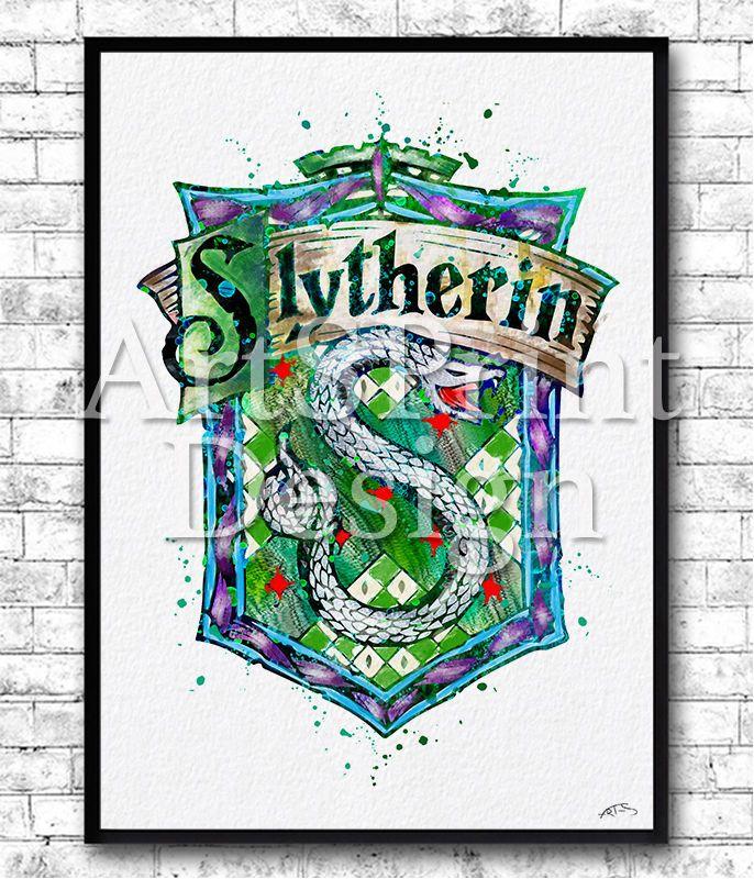 Slytherin Crest 3 Watercolor Print Nursery Harry Potter Poster
