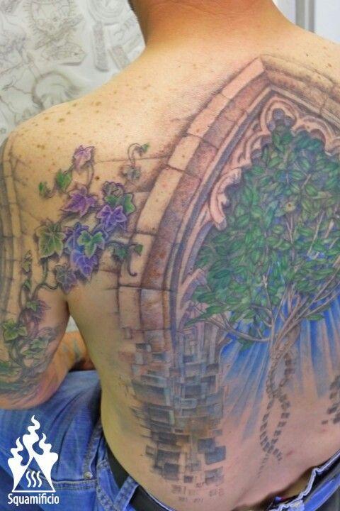 gotic backpiece tattoo