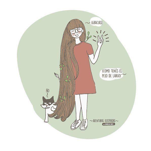 """28 Me gusta, 4 comentarios - Angela Ruiz (@lahappicidad) en Instagram: """"Lo que me imagino cada vez que me dicen que tengo largo el pelo!"""""""
