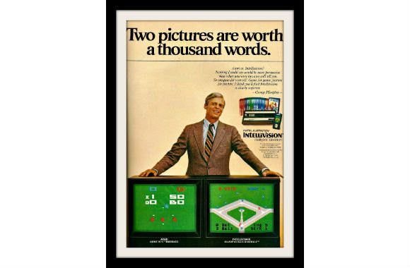 "1981 Intellivision & Atari Video Game Ad ""George Plimpton"" Vintage Advertisement Print"