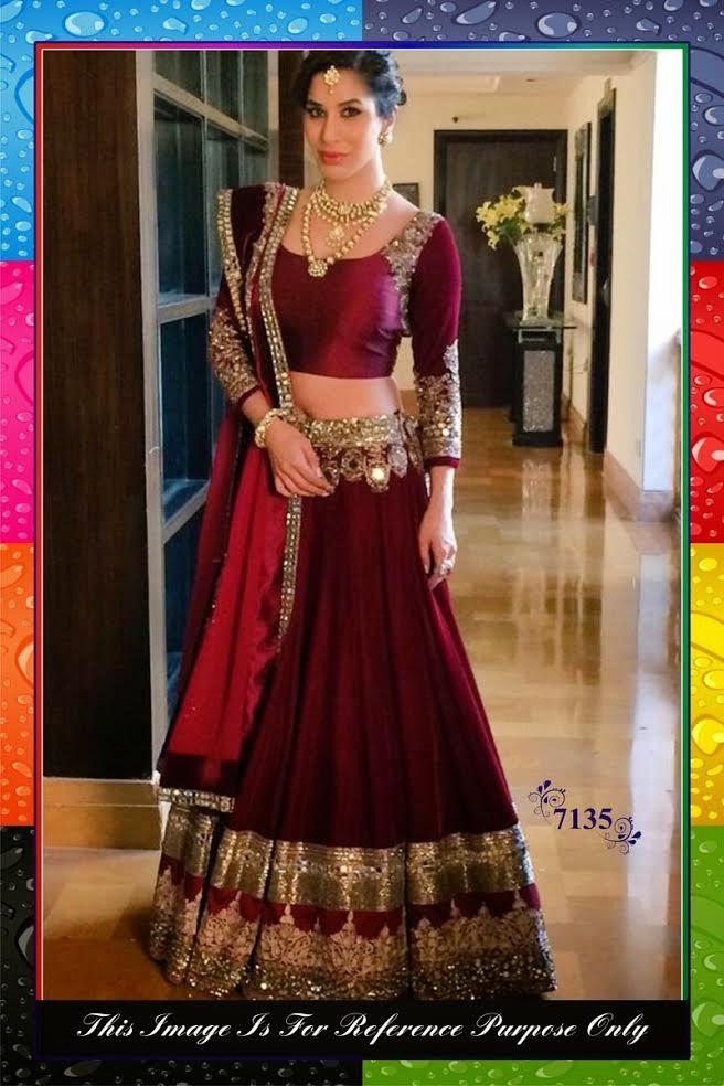 Sophie Maroon Silk Bollywood Lehenga Choli Online