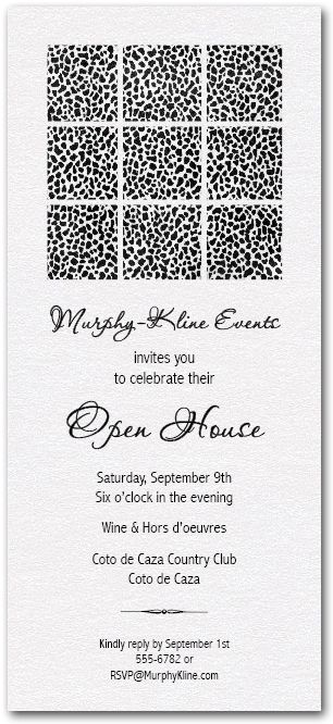 Business Invitations: Blocks of Black Spots Shimmery White Business Invitations - Great for Open House, Anniversary and more (change the wording to fit this invitation to any occasion!)