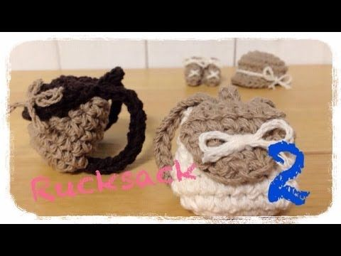 How to crochet a miniature rucksack (2/2) ミニチュア リュックの編み方 by meetang - YouTube