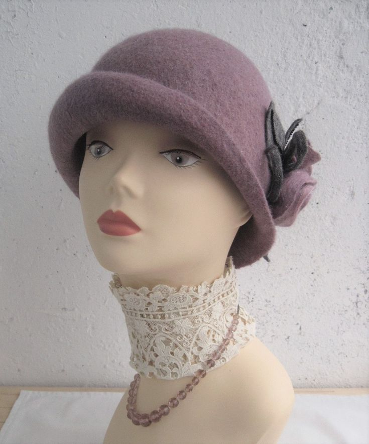 Lilac felted hat Lavender hat Women's felt hat Women's lavender hat Lilac hat Hat with flowers Hat with roses Retro hat 1920s hat Felt hat - pinned by pin4etsy.com