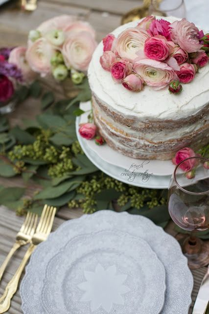 Frosted rustic cake with peonies and roses - easy last minute party idea