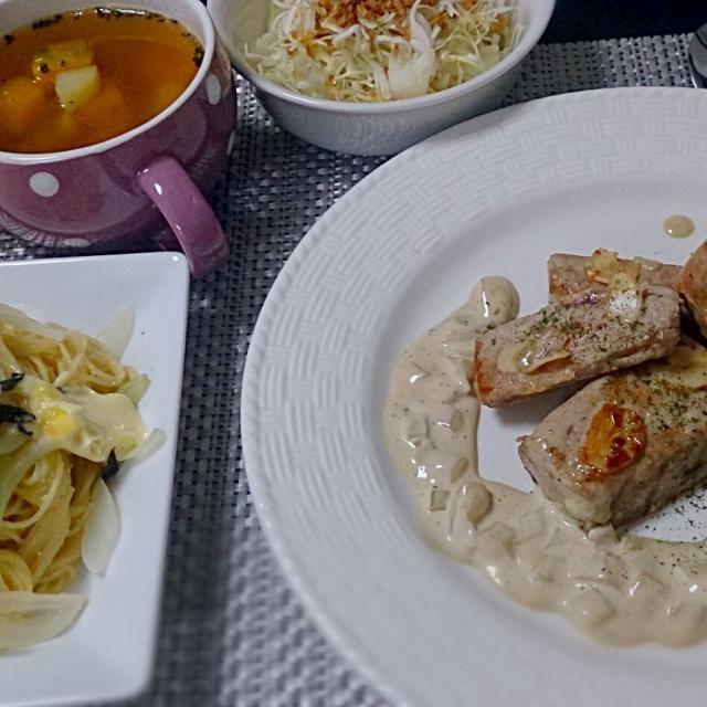 創作料理 - 7件のもぐもぐ - マグロのガーリックソテー アンチョビソース添え たらこパスタ コールスローサラダ パンプキン ポテト スープ by ka612eusoarm