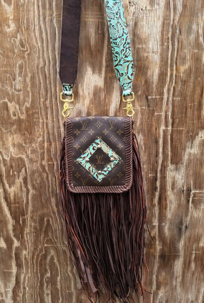 836fe4a8578e Vintage Louis Vuitton Western Leather Handbag Rodeo Purse w  Fringe Hippie  LV