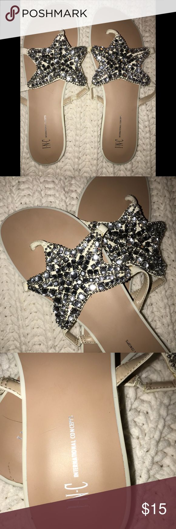 INC international bling sandal INC international bling sandal. Cream color with silver star studded design. No missing stones. Worn once. Bought on posh but too small for me so hoping someone can enjoy these gorgeous sandals. Size 8.5. Stunning and very clean. Footbed is spotless bottom has one use only. INC International Concepts Shoes Sandals
