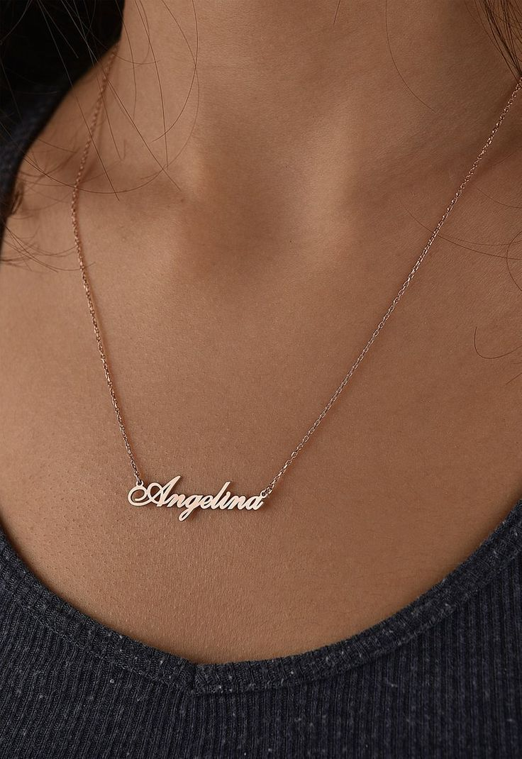 initial necklace Personalized bar necklace mothers day gift simple necklace custom name solid gold chain 14k rose gold necklace