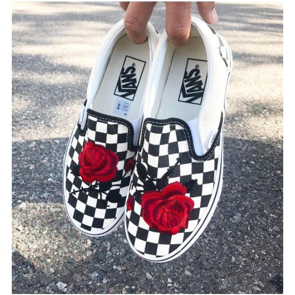 Checkered Slip On Vans Rose Embroidery Shoes Sale Code Inside!! ($94) ❤ liked on Polyvore featuring shoes, kohl shoes, black floral shoes, floral-print shoes, floral slip on shoes and embroidered shoes