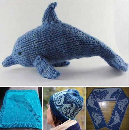 Celebrate National Dolphin Day with dolphin knitting patterns - Dolphin toy, dolphin dish cloth (free!), dolphin hat, and dolphin scarf (free!) http://intheloopknitting.com/sea-animal-knitting-patterns/