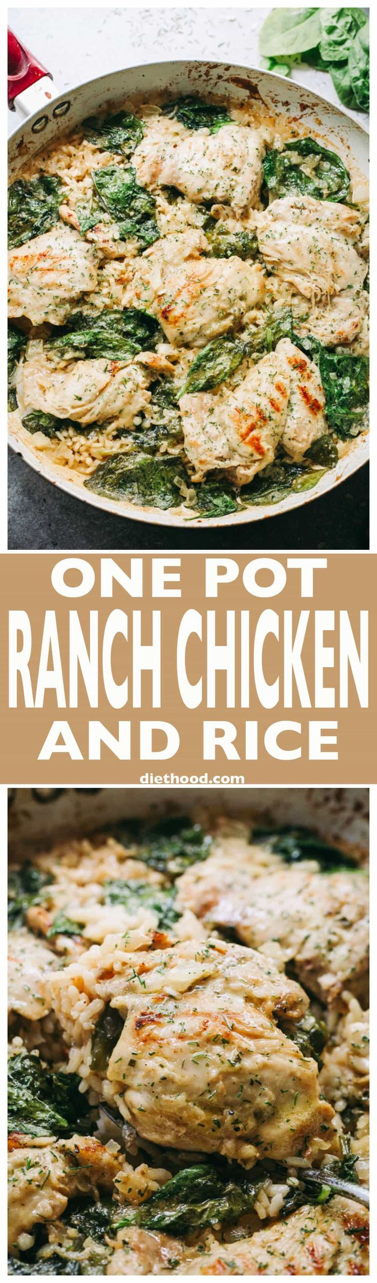 One Pot Ranch Chicken and Rice - Easy, quick, and delicious ranch flavored chicken cooked in one pot with rice and spinach. via @diethood