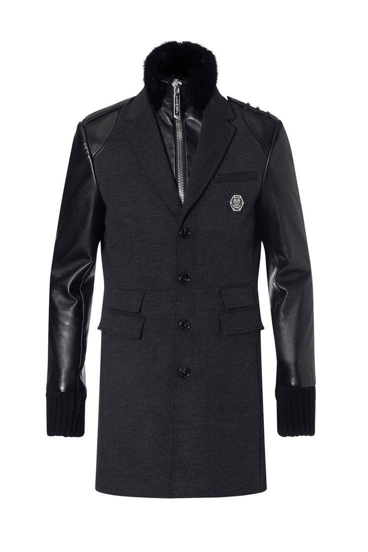 Philipp Plein Coats | Fasten Seat Coat Black | Mens Designer Jackets | Boudi Fashion | FW14-HM231986F