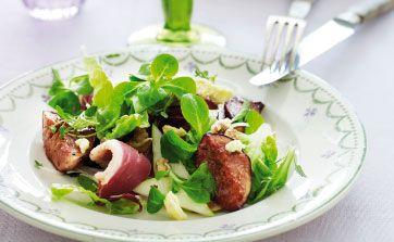 Andebryst, figner, valnødder og pærer - de skønne fire ingredienser smager suverænt sammen!
