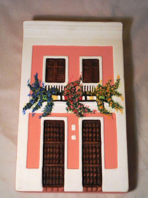 Casa ceramica due storie da Puerto Rico, attaccatura di parete facciata caraibica Fatto a mano 10 x 6 x 1