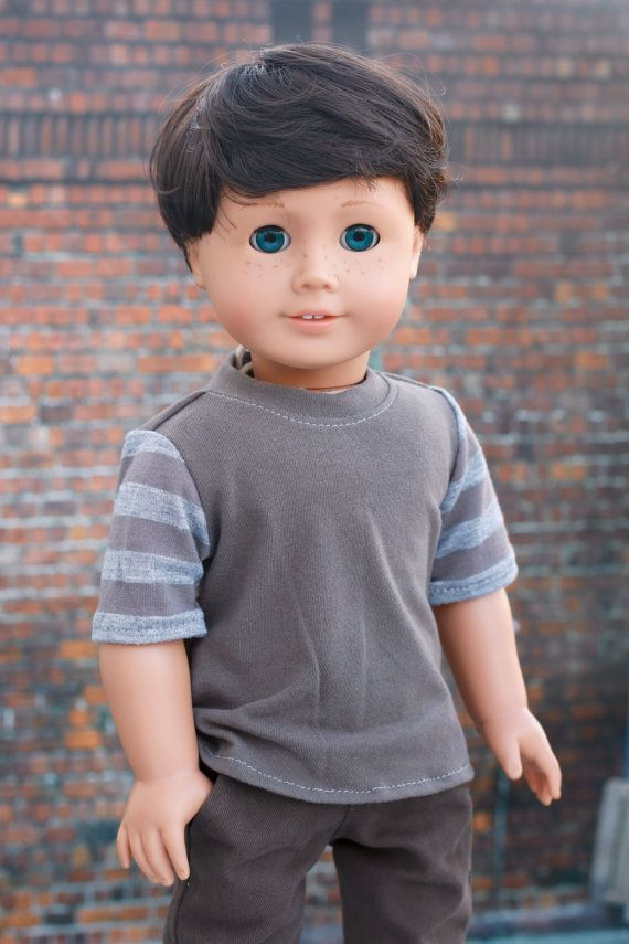 American Boy Doll Clothes - Brown and Gray Colorblock BOY Short Sleeve T-SHIRT Tee Top for 18 Inch Doll such as American Girl Doll