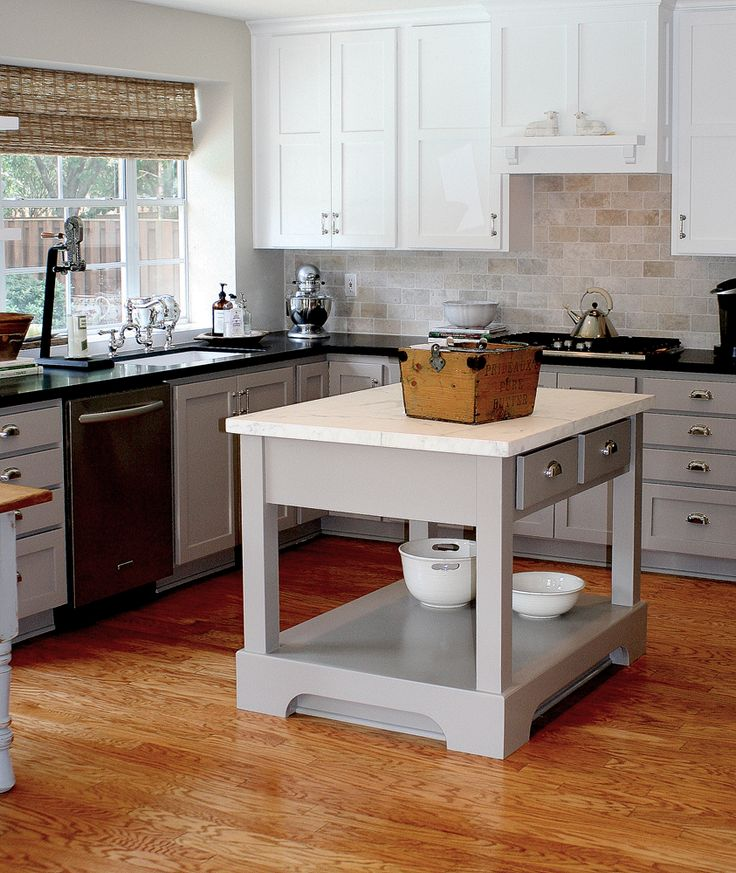 Color scheme for temporary kitchen fix. gray lower cabinets with white uppers and dark countertopsGray Kitchen Cabinets, True Colors, Rockport Gray, Kitchens Islands, Cote De Texas, Subway Tiles, Benjamin Moore, Kitchen Islands, Kitchens Cabinets
