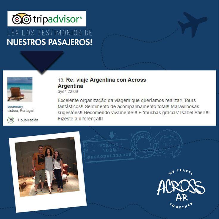 Susana e Paulo voltaram #muitofelizes com a sua #viagem pela #Argentina. Congratulamo-nos com os seus comentários e sua escolha de #AcrossArgentina! Até a próxima!! Leia opiniões de #viagens de todos os nossos #passageiros no #TripAdvisor  #Viajantes > https://goo.gl/I6AMtO
