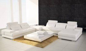 Four Pieced Leather Sectional Sofa with Adjustable Headrests