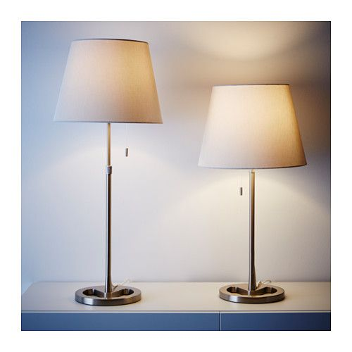 Nyfors table lamp nickel plated white ikea