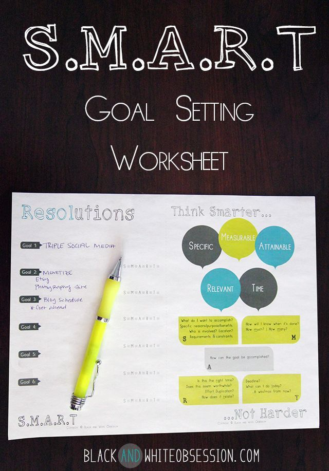 Black and White Obsession | Freebie Goal Setting Worksheet Free Printable #Resolutions goal setting #goal