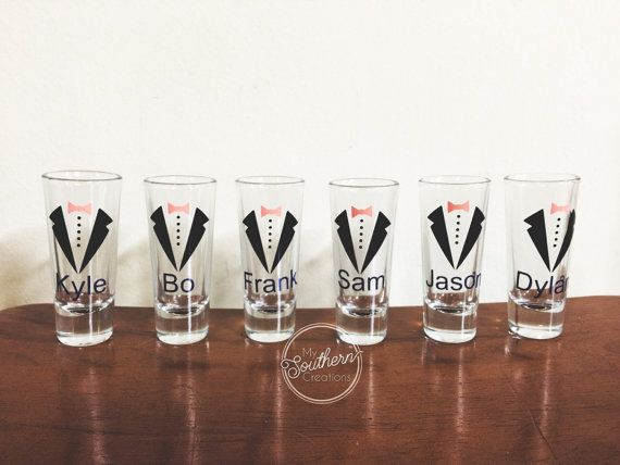 Perfect paired with glitter bridesmaid wine glasses. These shot glasses come with a tux, bow, and names, and are perfect for gifts for your