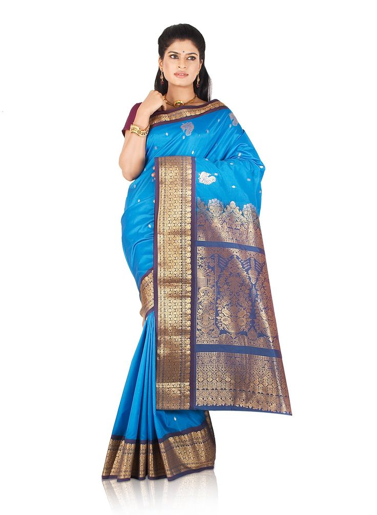 Buy Lake Blue Bangalore Art Silk Saree with Gold Zari Woven Buttas and Peacock Motifs (CODE:BLR0720037) online from India - IndusDiva.com