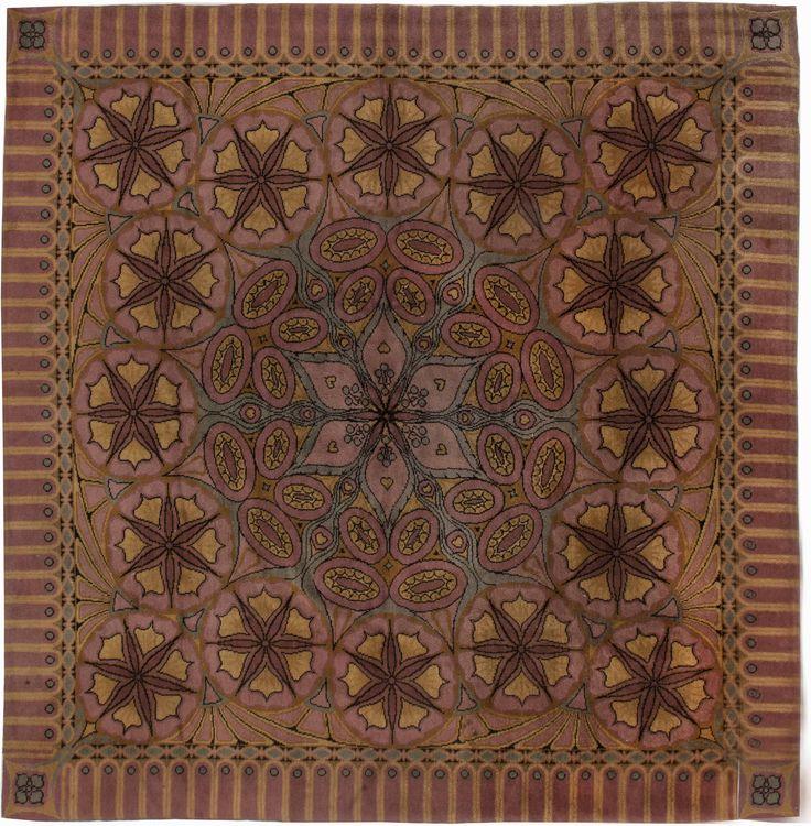 Vintage rug art deco & art nouveau inspired by oriental motifs for vintage oriental living room interior decor