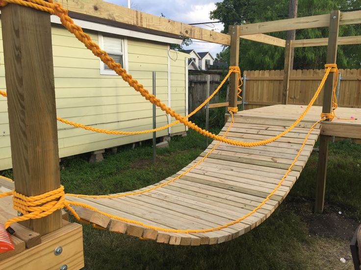 Rope bridge for my sons DiY playground                                                                                                                                                     More