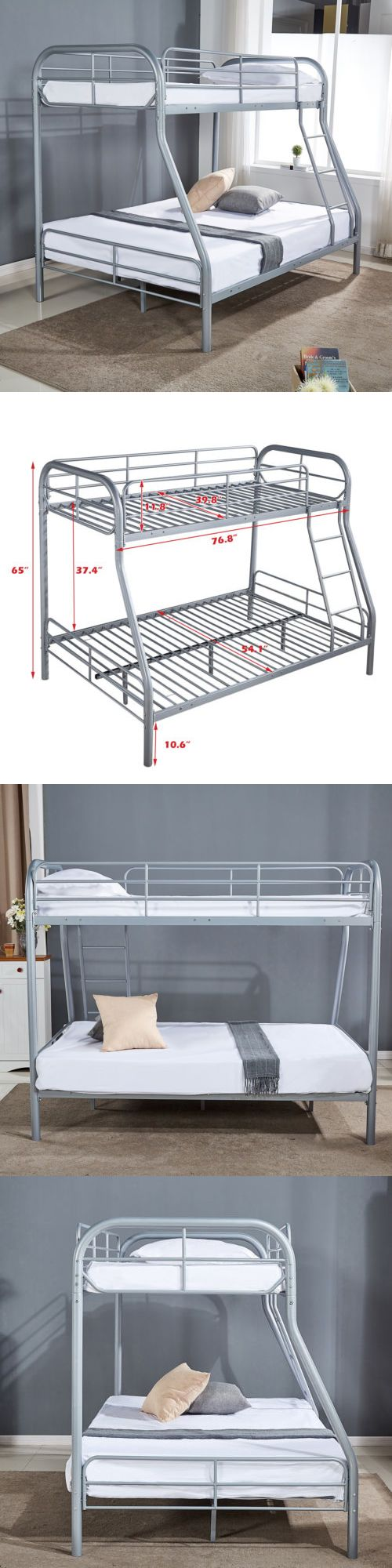 Kids metal loft bed with slide  Metal Twin over Full Bunk Beds Kids Teens Adult Dorm Bedroom
