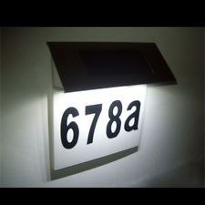 new stainless steel solar power 4led illuminated house number plaque light lamp