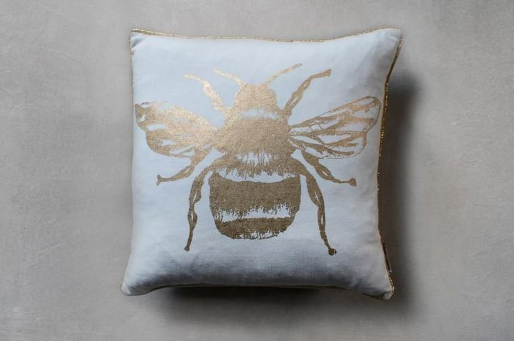 Perch & Parrow | Bumble Bee Cushion in Metallic Gold