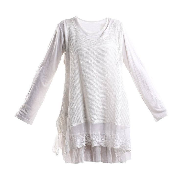 DRESS IN WHITE COLOR W/ LACE - Skirts-Dresses - Clothes