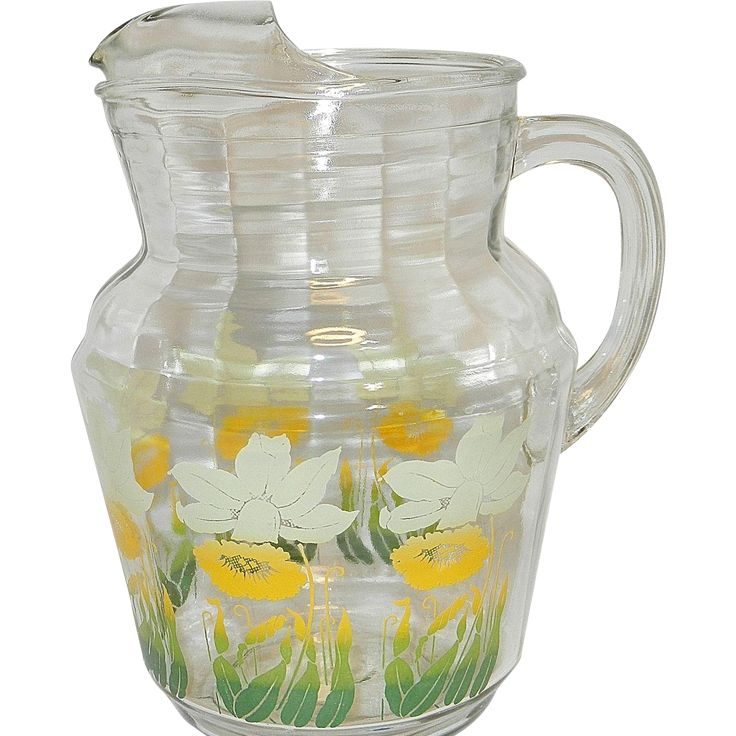 Vintage Anchor Hocking Floral Pattern Glass Pitcher  #VintageBeginsHere at www.rubylane.com @rubylanecom  #vintagekitchen