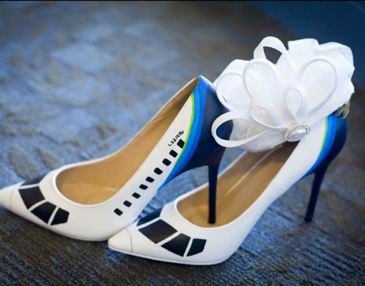 Airplane wedding shoes