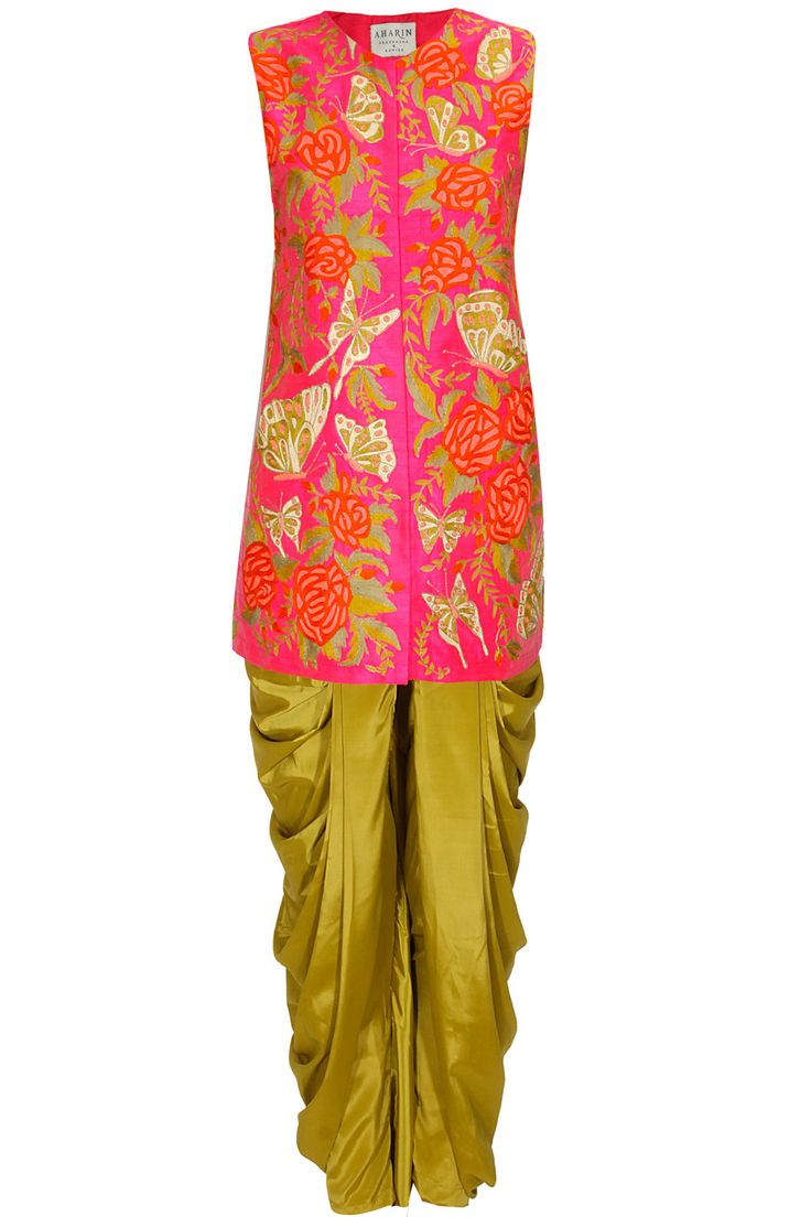 Pink butterfly and rose embroidered jacket kurta with lime dhoti pants available only at Pernia's Pop Up Shop..#perniaspopupshop #newcollection #festive #designer #clothing #aharin