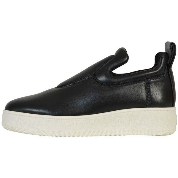 Celine Shoes (€590) ❤ liked on Polyvore featuring shoes, sneakers, black, black sneakers, black leather trainers, genuine leather shoes, leather sneakers and leather footwear