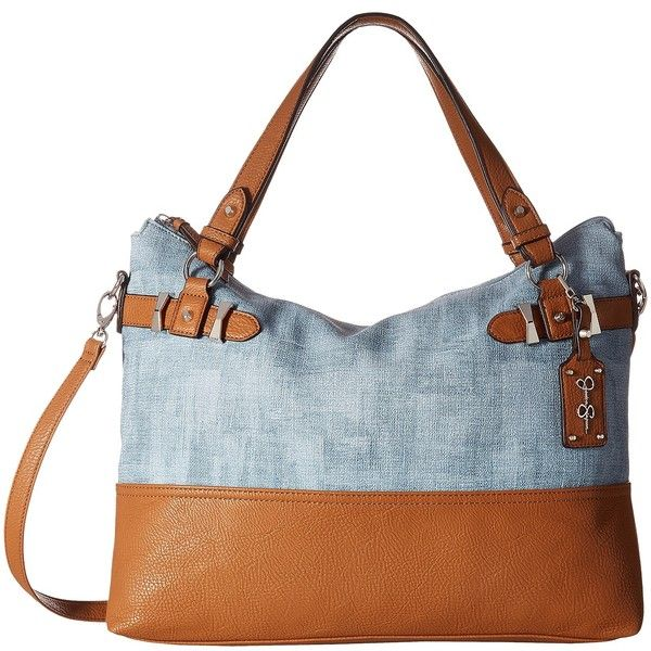 Jessica Simpson Katelina Crossbody Tote (Denim/Cognac) Cross Body... ($43) ❤ liked on Polyvore featuring bags, handbags, tote bags, brown, zipper tote, purse tote, zip tote bag, denim hand bags and handbags crossbody