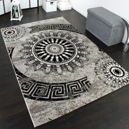 Details About Black Grey Large Designer Rug Carpet Clic Modern Pattern Circle Ornaments