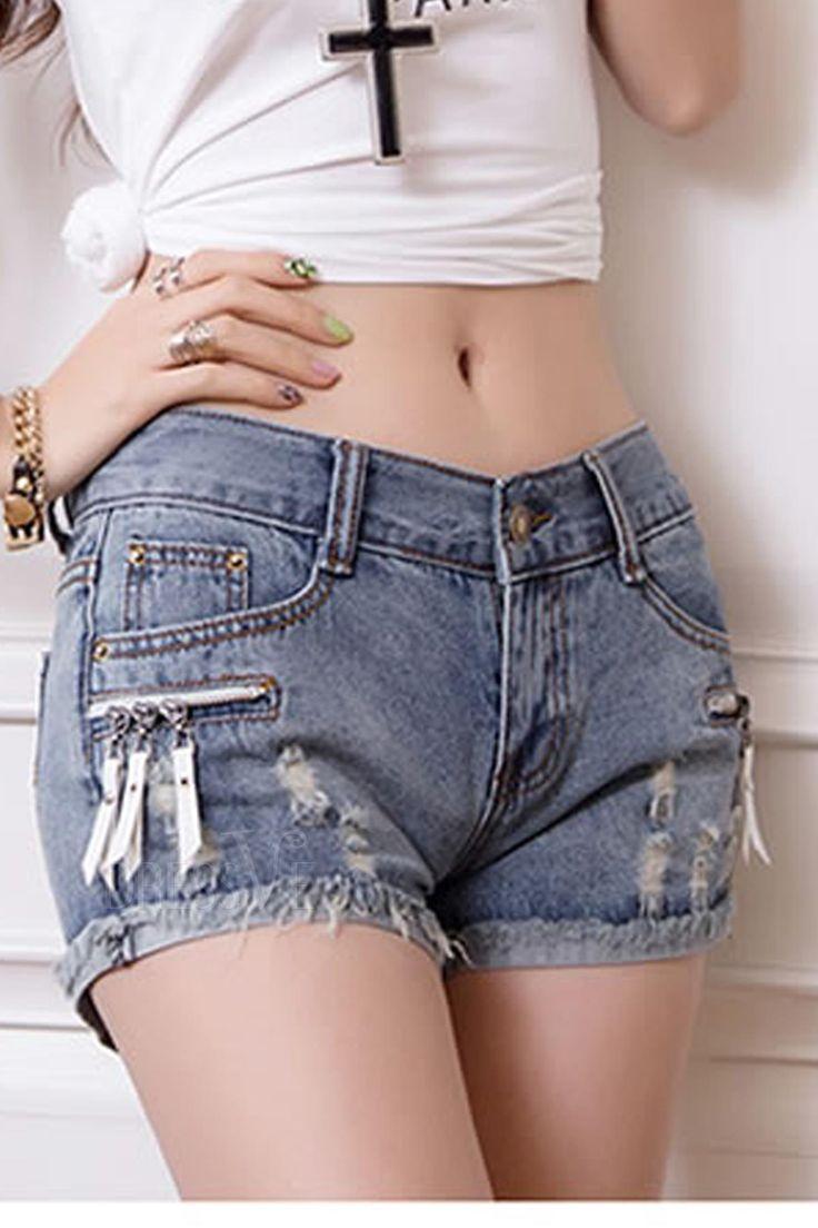 Fashion Cool Zipper Pockets Slim Cropped Jeans Shorts