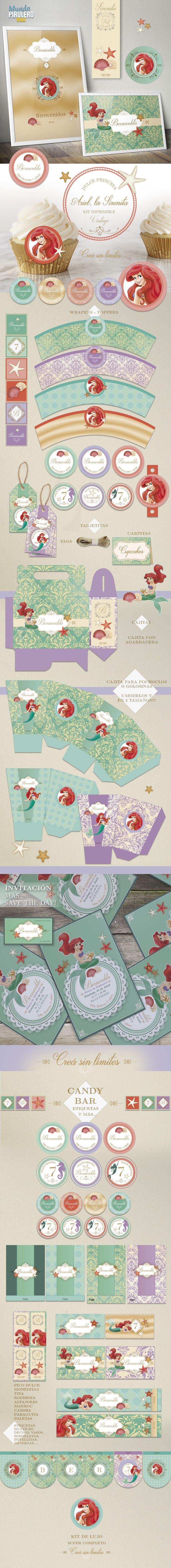 Kit imprmible La Sirenita Princesa Ariel #TheLittleMermaid #printable #printableTheLittleMermaid #SirenitaAriel #princesaAriel #partyPrintableSirenitaAriel                                                                                                                                                                                 Más