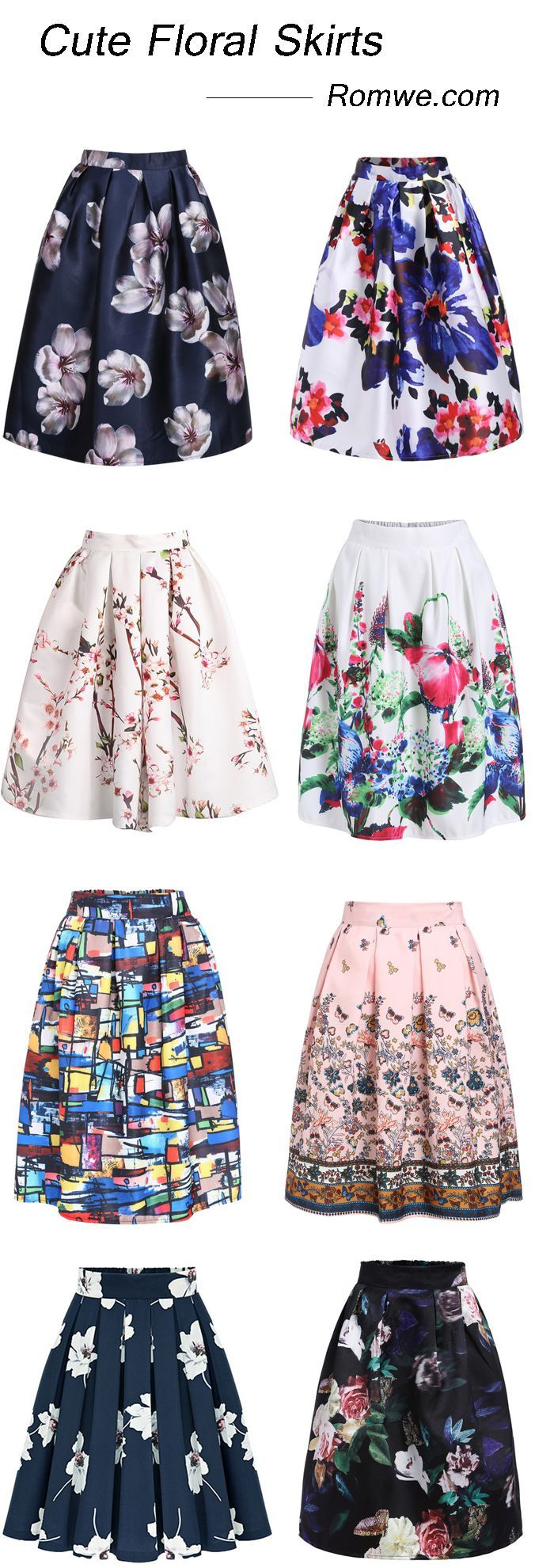 Cute floral midi skirts from $10.99, best for spring/summer. Find more from romwe.com