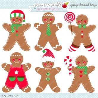 Gingerbread Boys - JW Illustrations - Cute Gingerbread Men Digital Graphics