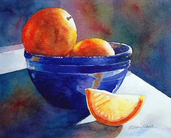 Watercolor Original Citrus Still Life Orange Fruit Breakfast