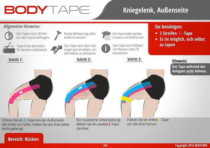 Knie außen Tapen Kinesiologie / Schritt-für-Schritt ⚠️ Mehr unter: www.bodytape.net