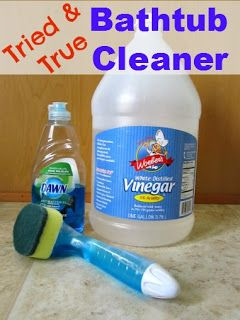 Bathtub Cleaner {Dawn and Vinegar SUCCESS} I have tried Dawn and vinegar before, but the scrubber makes all the difference!