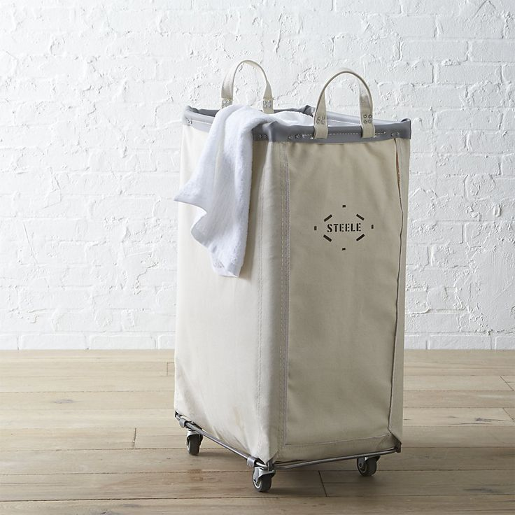 Steele ® Vertical Canvas Laundry Bin | Crate and Barrel