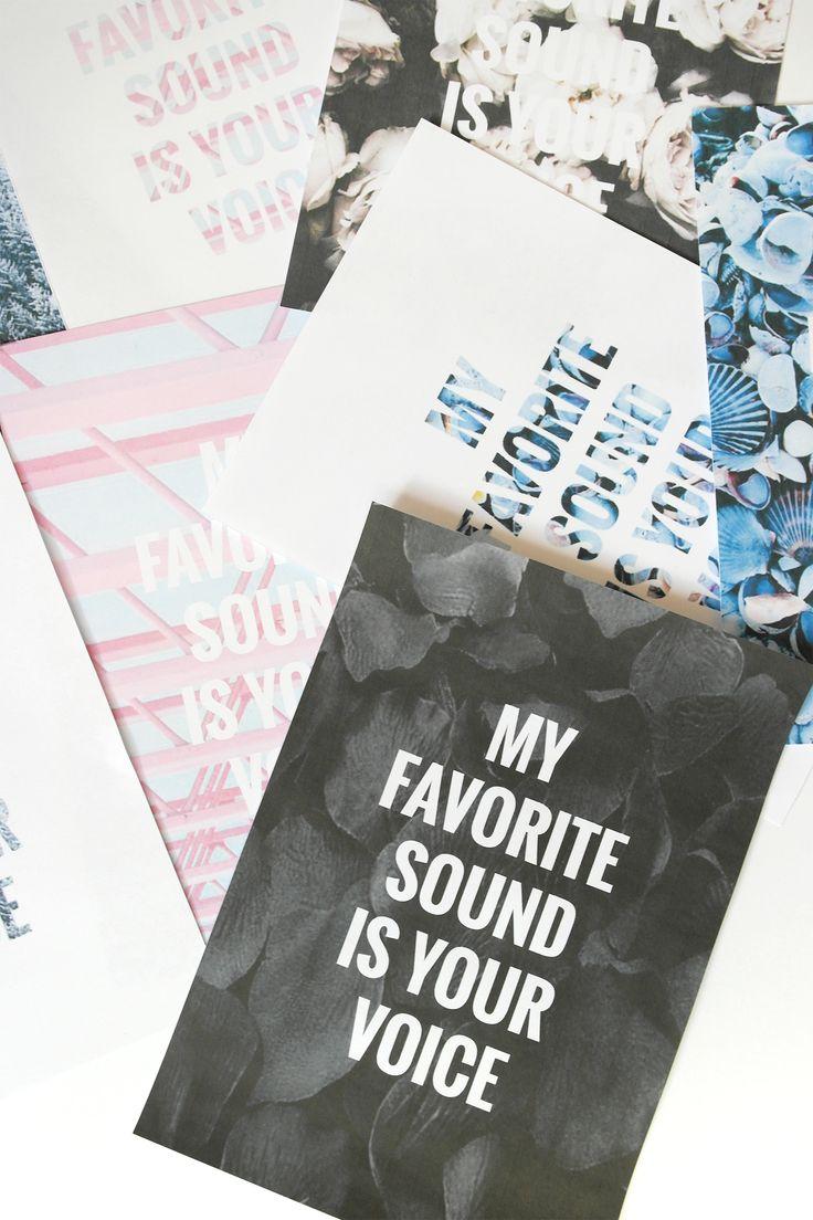 11 print selv plakater på bloggen i anledning af valentins dag. My favorite sound is your voice
