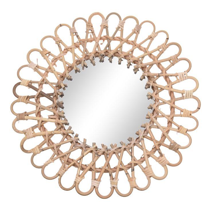 Hanging Wall Mirror Rattan Round Makeup Mirror Nordic ...