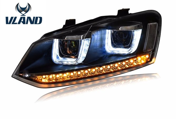 (500.00$)  Buy here  - Free shipping for Car head lamp for VW POLO 2010 2015 headlight LED Double U lens Xenon H7